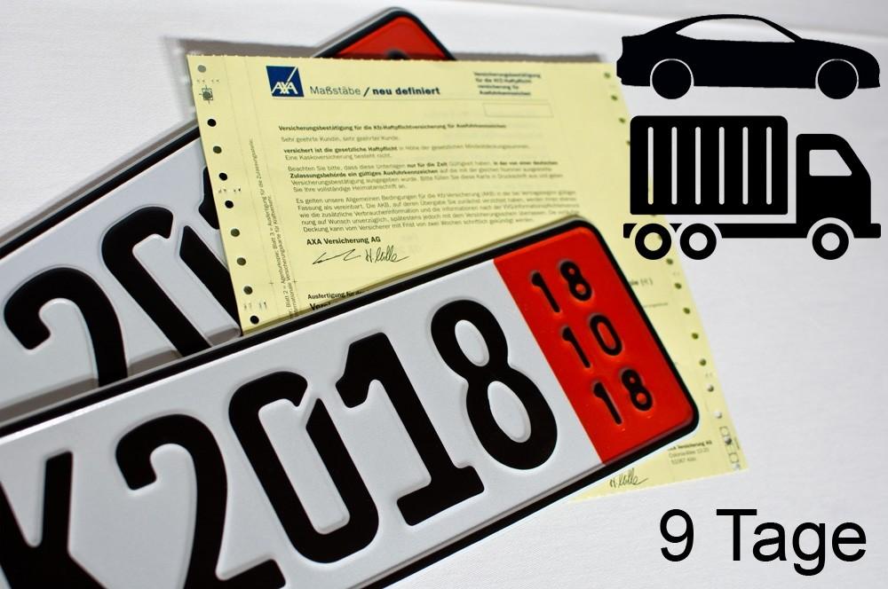 Zollausfuhrversicherung 9 Tage ohne Fahrzeugbeschränkung