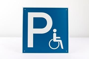 "Parkplatz ""Rollstuhlfahrer"" Aluminium geprägt - 250 x 250 mm"